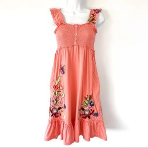 Johnny Was JWLA Smocked Embroidered Dress Orange